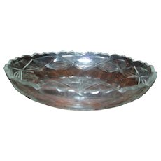Antique 18th century Anglo Irish Oval Cut Glass Crystal Centerpiece Bowl