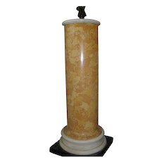 Antique 19th c. Italian Scagliola Siena Marble Column for Regency Bust or Bronze Statue