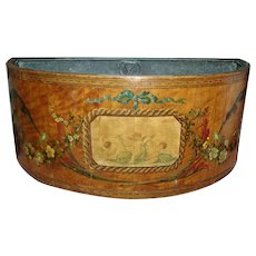 Antique English George III Adam Satinwood and Paint Decorated Flower Box or Planter for the Table with Zinc Liner c. 1800