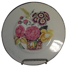 Antique 19th century Don Pottery Creamware Botanical Pearlware Plate Decorated with Basket of Flowers 1810