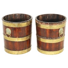Pair Late 18th century George III Walnut Brass Bound Ice Bucket Cooler Decanter Caddies or Wine Bottle Coasters c. 1800