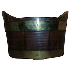 Antique 18th century Dutch Brass Bound Mahogany Wine Cooler / Coaster or Planter