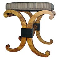 Graceful Antique 19th century Biedermeier Stool with Ebonized Highlights & Horsehair Upholstery 1810
