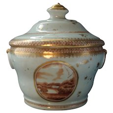 Antique 18th century Chinese Export Porcelain Sugar Bowl Box Sucrier for the American Market 1780 - 1790