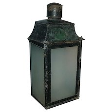 Antique 19th century French Tole Paint Decorated Lantern with Frosted Glass