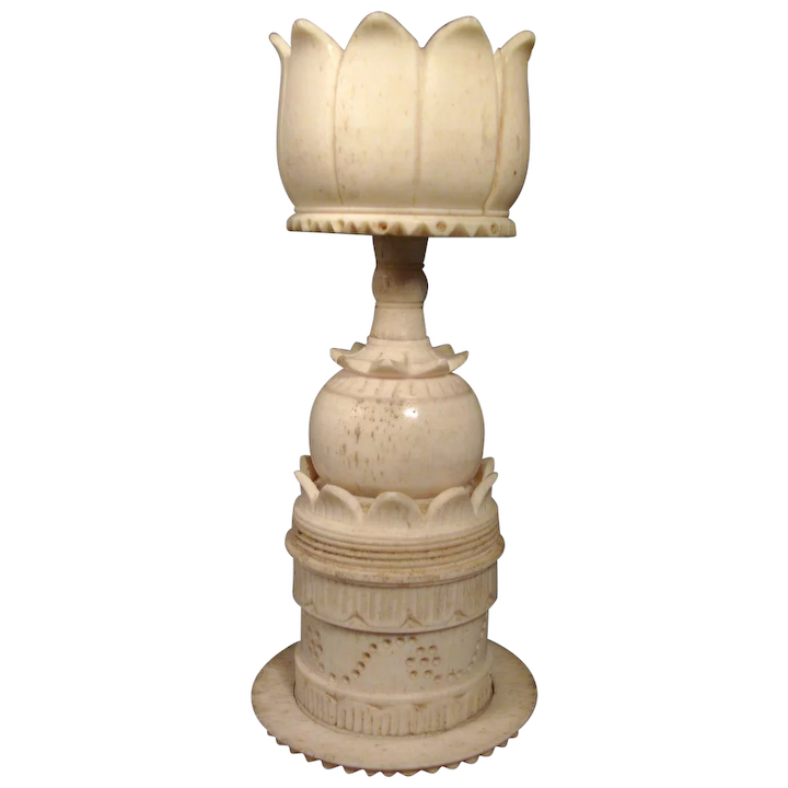 Antique 19th C Chinese Carved Bone Display Stand For A Puzzle Ball Classic Tradition Ruby Lane