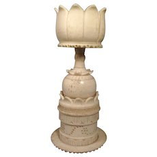 Antique 19th c. Chinese Carved Bone Display Stand for a Puzzle Ball