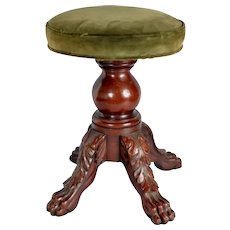 Antique Early 19th century American New York Classical Mahogany Empire Stool