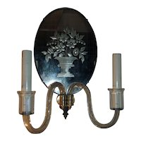 Antique Art Deco Etched Glass and Cut Faceted Glass Mirrored Wall Sconce 1920