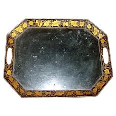Antique 19th century English Regency Tole Tray with Gilt Penwork 1810