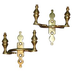 Pair Early 19th century American Federal Brass Jamb Hooks with Urn Finials for Fireplace Mantel 1810