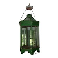 Antique 19th century American Tole Paint Decorated Hexagonal Hall Lantern