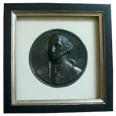 Antique 19th century Patinated Steel Plaque Memorial Portrait Bust of George Washington