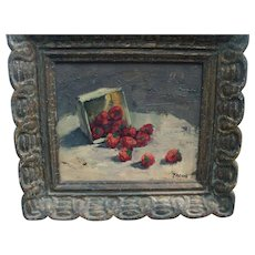 Oil Painting Fruit Still Life Box of Strawberries in Fine Frame Signed Koenig