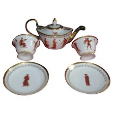 Antique 19th century French Empire Dagoty A Paris Porcelain Tea Set with Classical Figures 1810