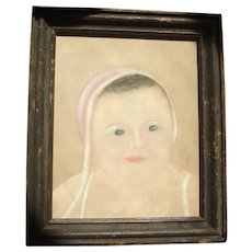 Antique 19th century American Folk Art Pastel Drawing of a Young Child