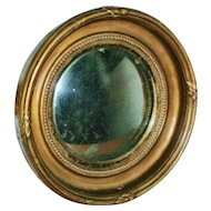 Antique 19th century English Regency Carved & Gilt Wood Convex Bull's Eye Mirror of Small Size