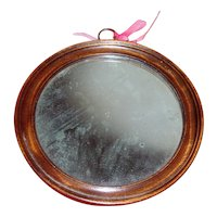 Antique 19th century English Regency Carved Wood Round Wall Mirror
