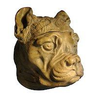 Antique 19th century English Boxer or Bull Dog Ceramic Tobacco Jar or Box