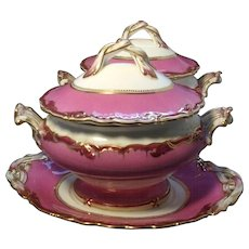Antique 19th century English Rockingham Porcelain Pink Sauce Tureens
