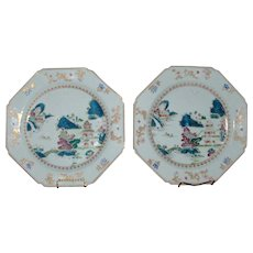 Large Pair Antique Chinese Export Porcelain 18th century Octagonal Chargers Platters in Famille Rose Glaze