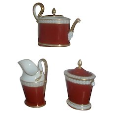 Antique Early 19th century French Empire Old Paris Porcelain Tea Set Pot, Sucrier and Cream Jug B. Klein