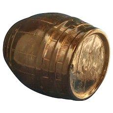 Antique 19th century Brown Glazed Stoneware Barrel Form Cask Whiskey Jug