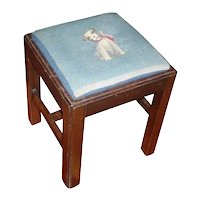 Vintage Georgian Mahogany Square Stool with Blue Dog Terrier Needlepoint Cover