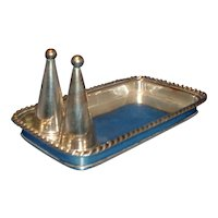Antique Early 19th century Old Sheffield Silver on Copper Candle Tray & Snuffer