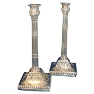 Pair Antique 18th century English Old Sheffield Silver on Copper Candlesticks of Diminutive Size