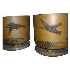 Pair Antique Art Deco Japanese Mixed Metal Bronze and Copper Planter Jardinieres on Elm Wood Bases