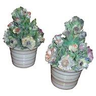 Pair Antique 18th century English George III Chelsea Derby Porcelain Flower Pot Urn Vases