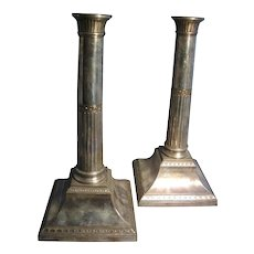 Pair Antique English George III 18th century Old Sheffield Plate Candlesticks Silver on Copper 1790