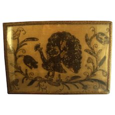 Antique 18th century Needlework Picture of an Exotic Bird or Peacock Framed Under Glass