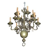 Antique 18th century Dutch Bronze 12 Light Chandelier with Zoomorphic Snake Serpent Arms