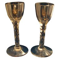 Pair Antique 18th / 19th century Georgian Anglo Irish Cut Stem Crystal Sherry Wine Glasses 1800