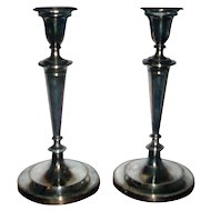 Antique Pair English George III Early 19th century Old Sheffield Silver on Copper Plate Candlesticks