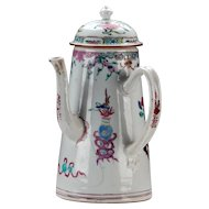 Antique 18th century Chinese Export Porcelain Famille Rose Pot for Chocolate, Tea or Coffee 1735