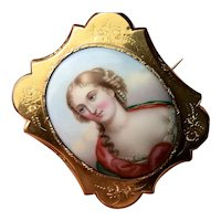 Large Victorian miniature portrait Mourning? brooch Lady clouds Pearls in hair