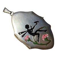 Antique Nouveau Alpacca Locket Pendant Fairy Nymph bird silhouette Enamel flower