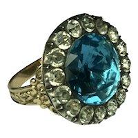 Georgian Blue Topaz Black dot Diamond foiled Paste closed back Ornate band ring