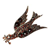 Victorian Antique Czech Rose Cut Bohemian Garnet Peace Dove Bird Pin Brooch