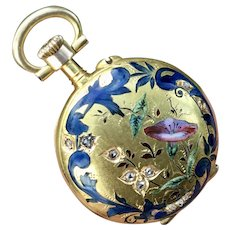 18K Art Nouveau Pristine Enamel Flowers & 11 Rose Cut diamonds pocket watch locket