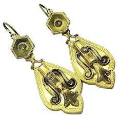 18k Solid Gold Early Victorian .....Day / Night ..... Rose Cut Diamond & Black enamel earrings