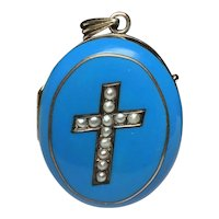 Turquoise Blue enamel and seed pearl gold Cross locket...Excellent condition!! Enamel is perfect!!