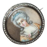 Georgian Portrait miniature hand painted Lady with detail surrounded by tiny Seed Pearls