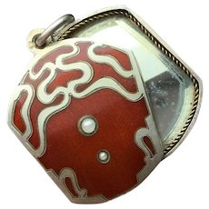 Fabulous Arts and crafts / Art Nouveau Silver & Red Enamel slide mirror pendant...Snake like with 3 Hallmarks and 2 tiny Seed Pearls.