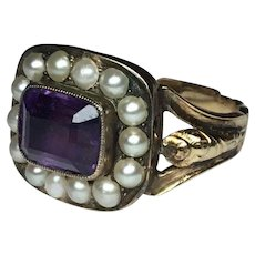 15K Gold  Georgian Amethyst & Seed Pearl Halo Ring
