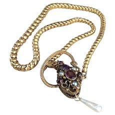 Victorian Snake Necklace / Bracelet Amethyst Garnets Pearls 14k Gold c.1870 MINT