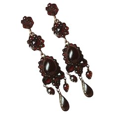 Antique Victorian 1800's Czech Rose Cut Bohemian Garnet Chandelier Earrings